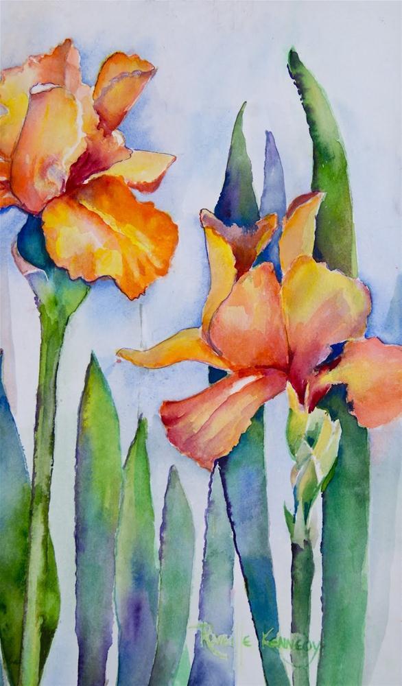 """""""Golden Iris  matted, framed"""" original fine art by Reveille Kennedy"""