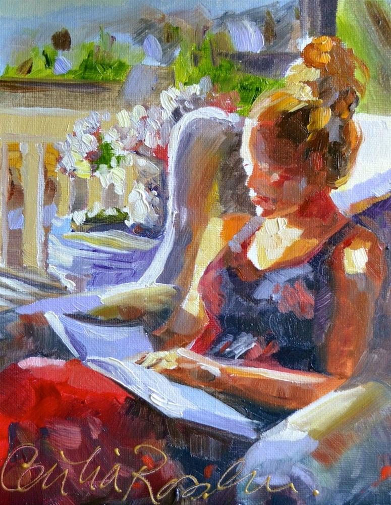 """""""Reading from Festive France"""" original fine art by Cecilia Rosslee"""