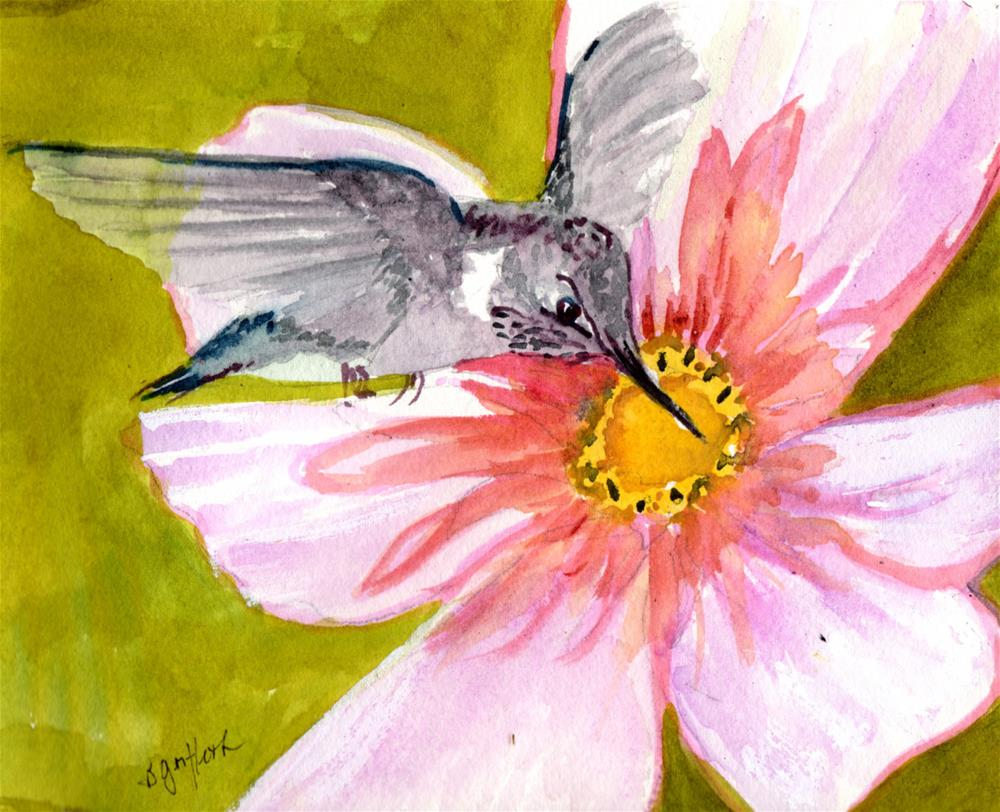 """""""Hummingbird and Pink Flower"""" original fine art by Bunny Griffeth"""
