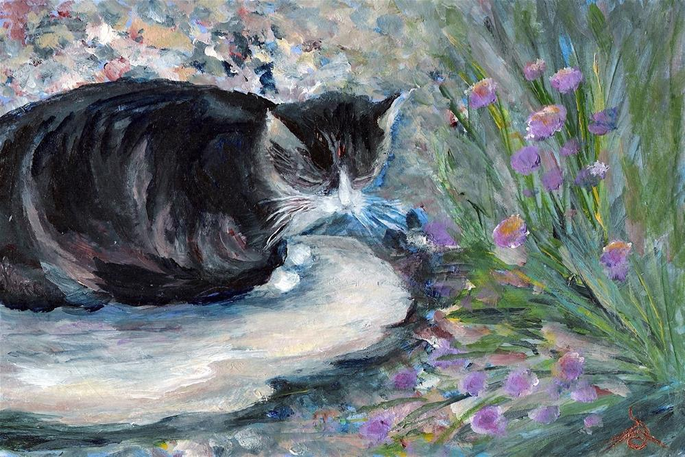 """3147 - Matted - Cat on a Rock - Pal Portrait with Linen Mat"" original fine art by Sea Dean"