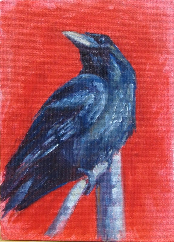 """Raven"" original fine art by Christine Lewis"