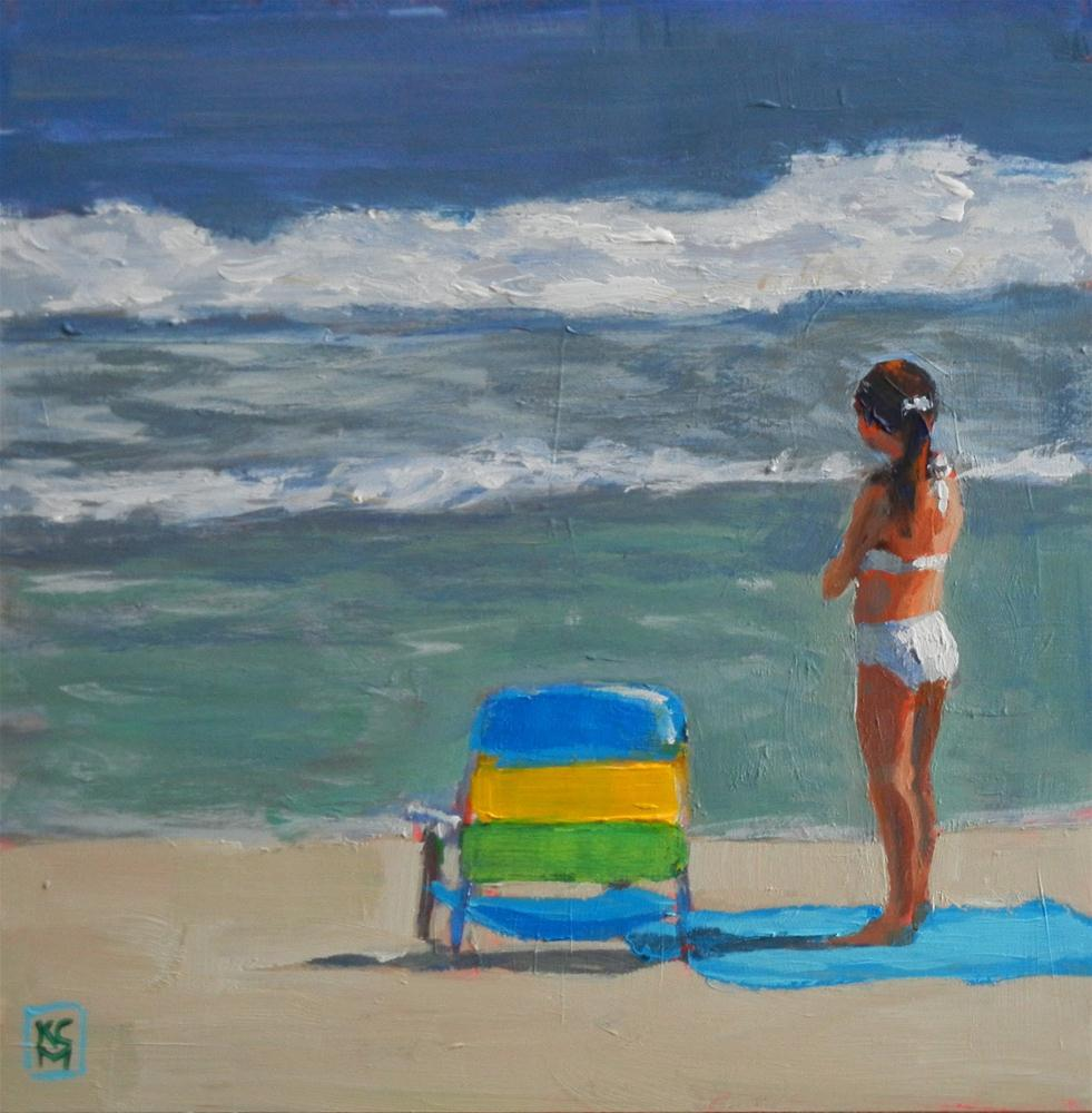 """After Lunch Wait, 8x8 Inch Painting of girl at the Beach, Acrylic"" original fine art by Kelley MacDonald"