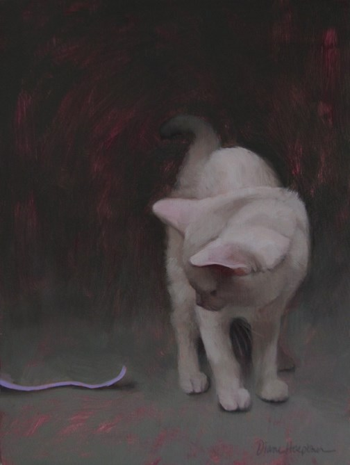 """""""Invitation to Play, painting of white cat"""" original fine art by Diane Hoeptner"""