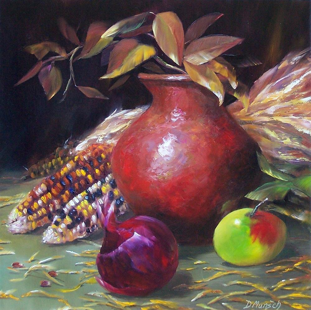 """""""Autumn Clay Pot"""" original fine art by Donna Munsch"""