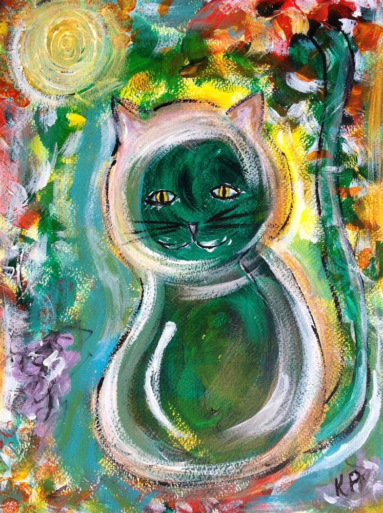 """Emerald Cat"" original fine art by Kali Parsons"