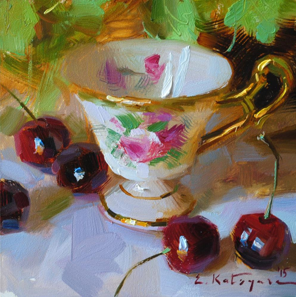 """Antique Cup and Cherries"" original fine art by Elena Katsyura"