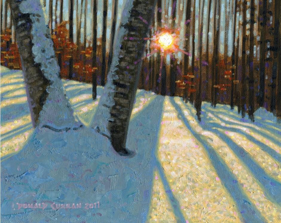 """Sunset Through the Trees"" original fine art by Donald Curran"