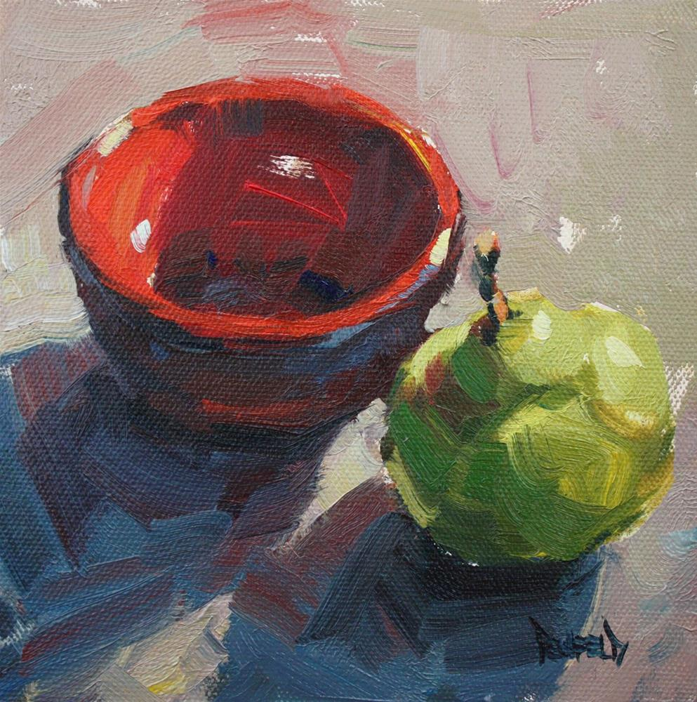 """""""Red Bowl and Pear"""" original fine art by Cathleen Rehfeld"""