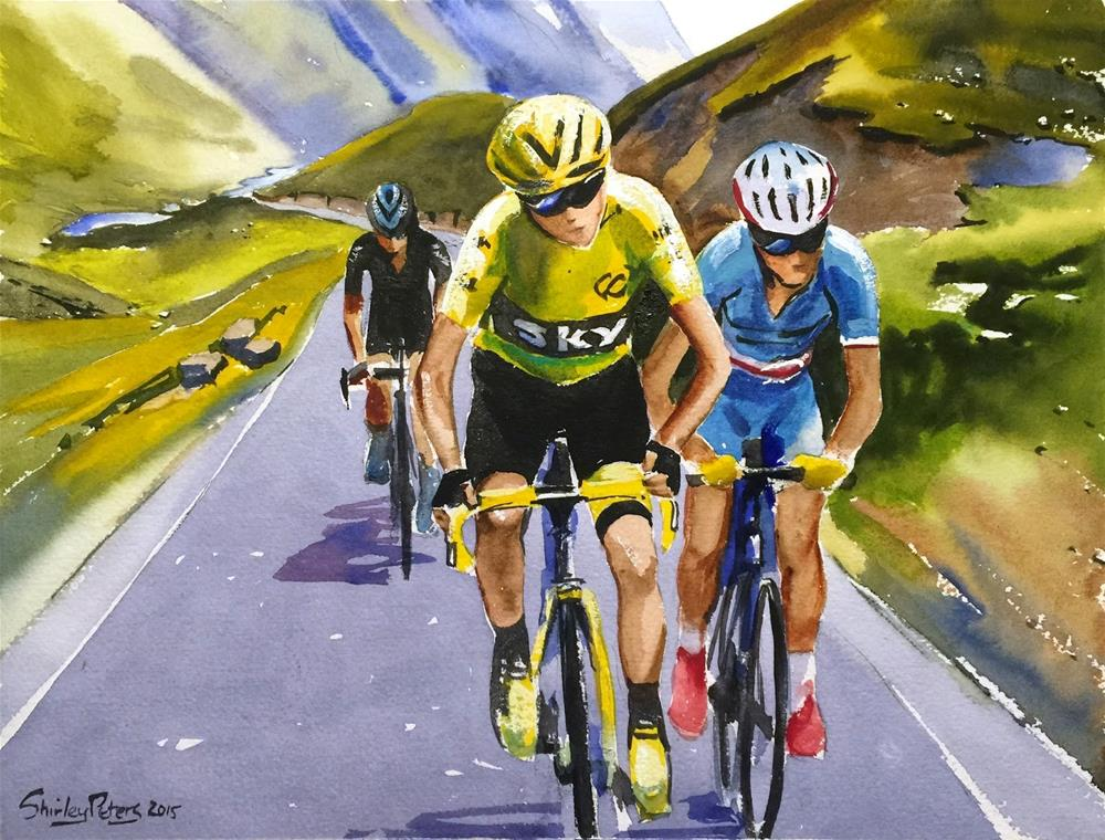 """""""Froome, Nibali and Porte"""" original fine art by Shirley Peters"""