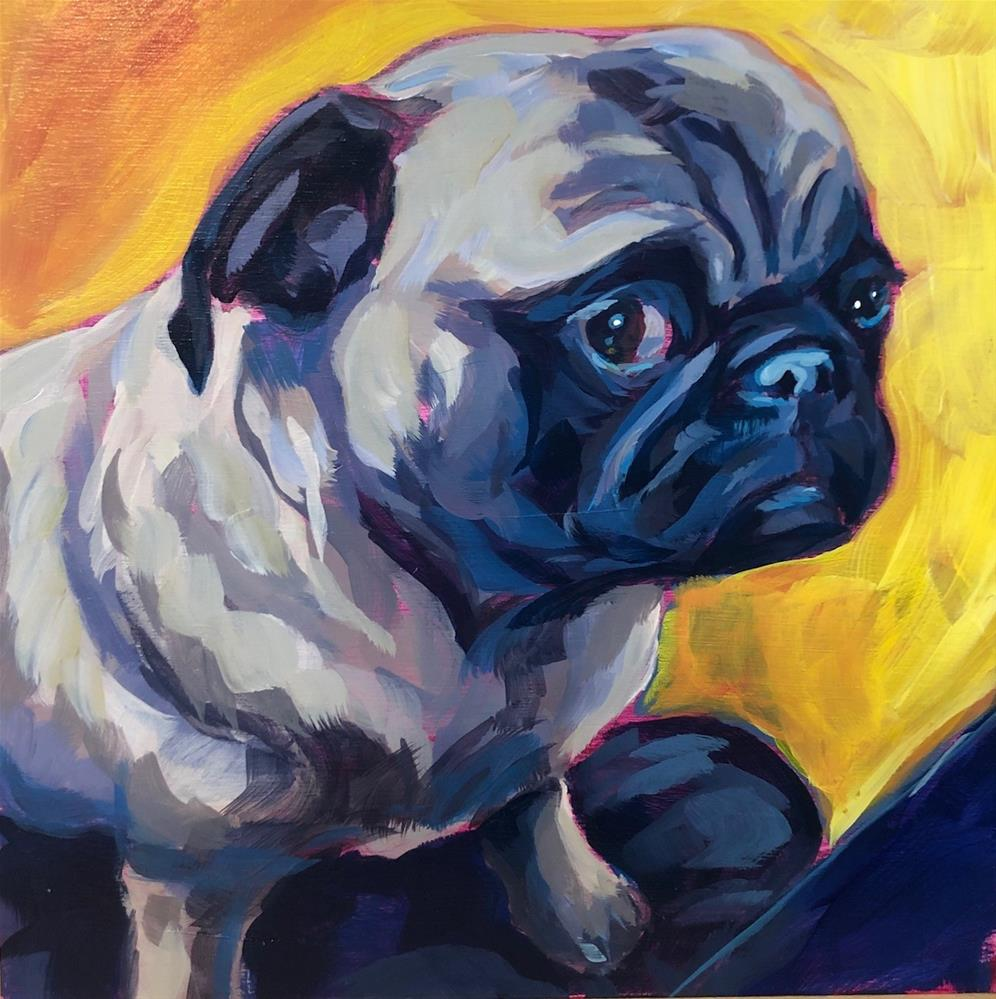 """Side-Eye Pug"" original fine art by Kat Corrigan"