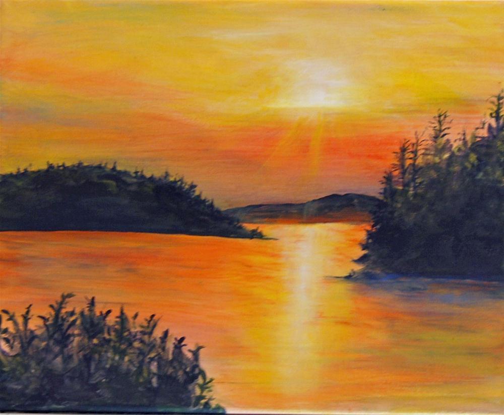"""""""A Summer Sunset"""" original fine art by Maureen Baker"""