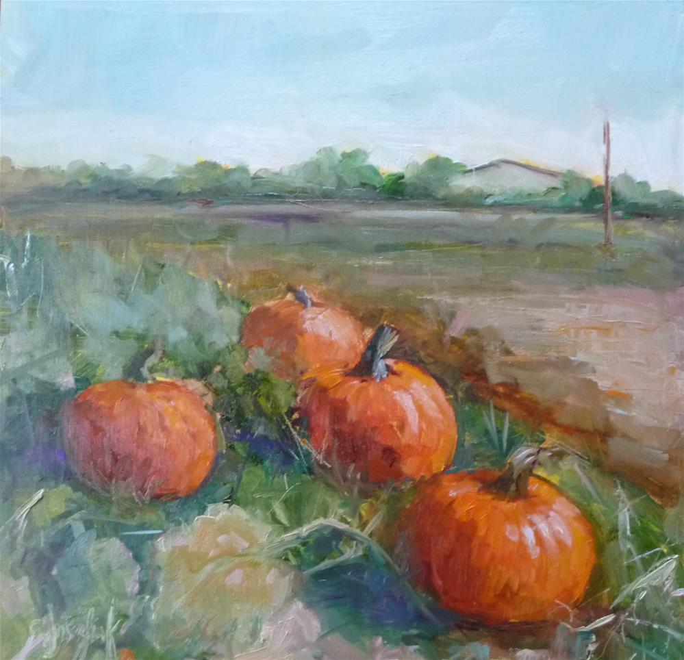 """Picking Pumpkins"" original fine art by Carol Josefiak"