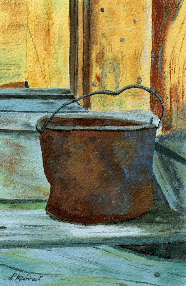 """Rusty Bucket"" original fine art by Lynne Reichhart"