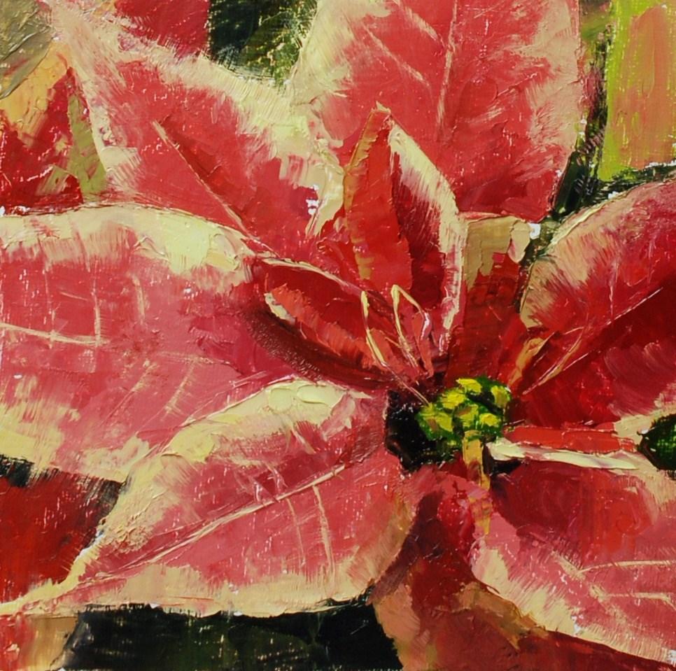 """""""No. 761 Palette Knife Poinsettia 2"""" original fine art by Susan McManamen"""