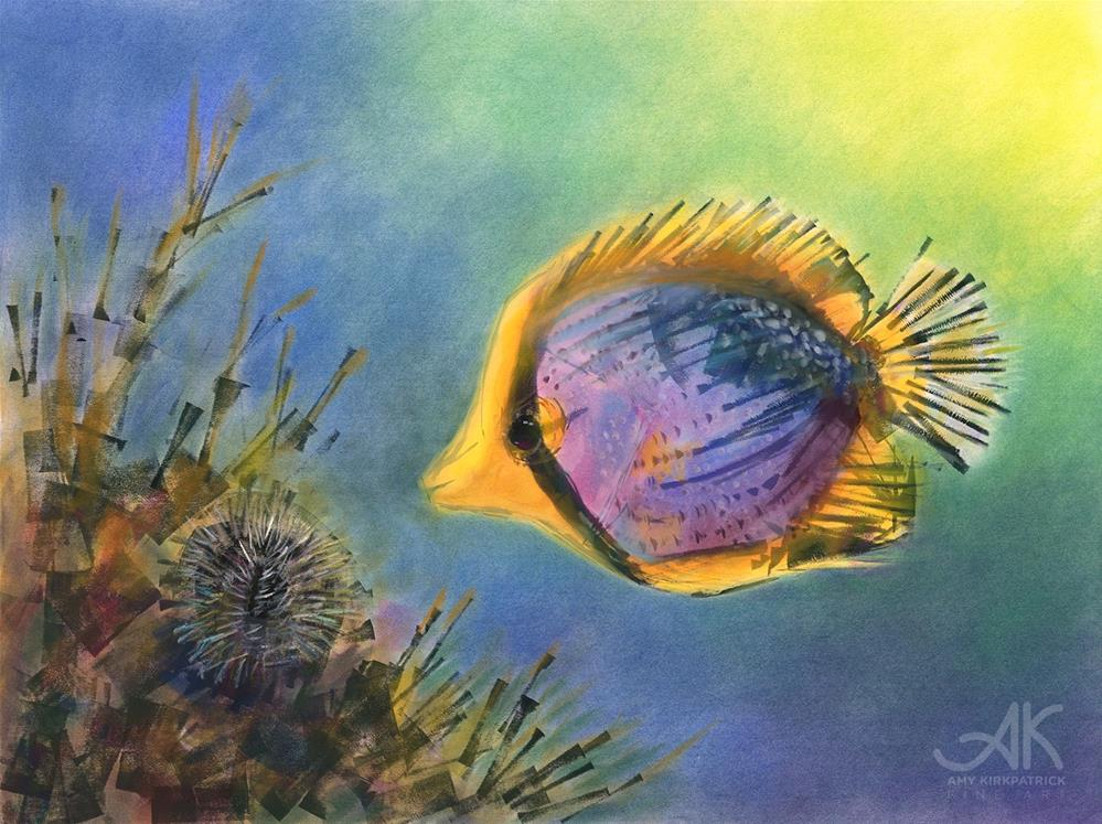 """BLACK BACK BUTTERFLY FISH #0753"" original fine art by Amy Kirkpatrick"