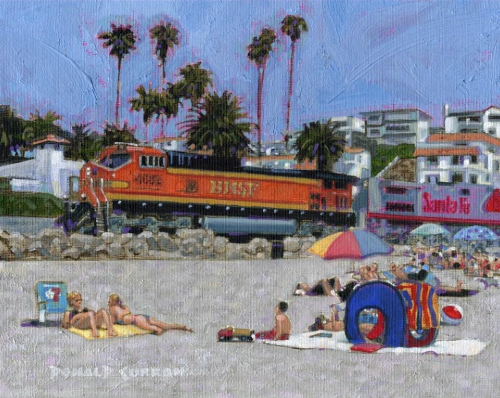 """San Clemente Beach, California"" original fine art by Donald Curran"