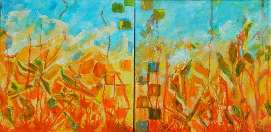 """flowers abstract group #1 & #2"" original fine art by Gloria Urban"