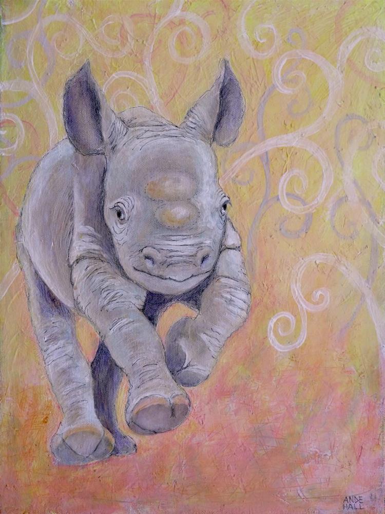 """Galloping Baby Rhino"" original fine art by Ande Hall"
