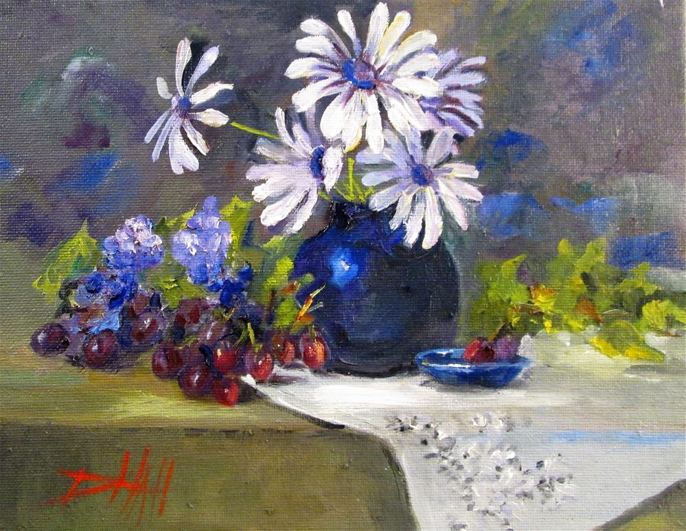 """Daisies and Grapes"" original fine art by Delilah Smith"