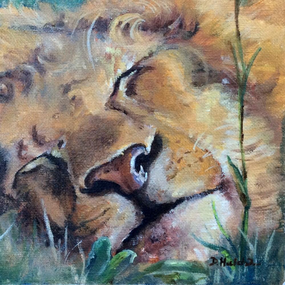 """""""Sleeping Lion"""" original fine art by Diane Hutchinson"""