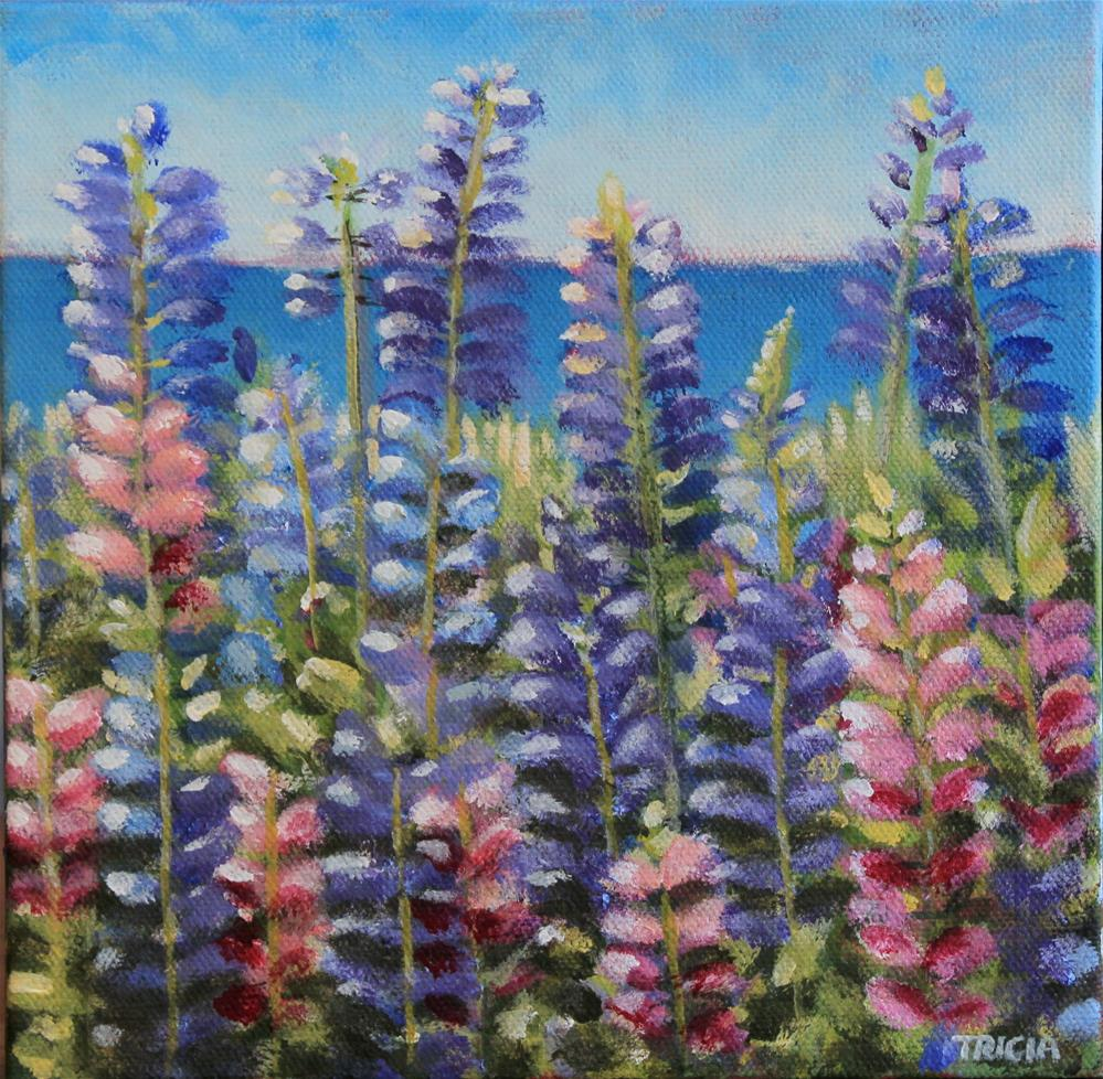 """""""Lupines by the Sea"""" original fine art by Tricia Granzier"""