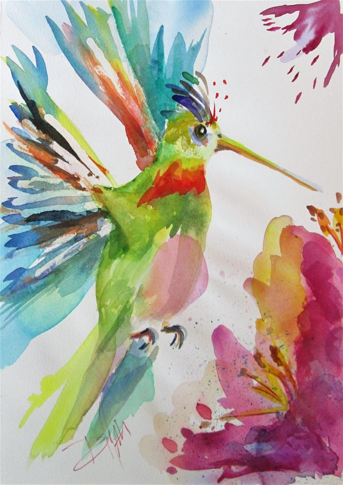 """Hummingbird and Purple Flower"" original fine art by Delilah Smith"