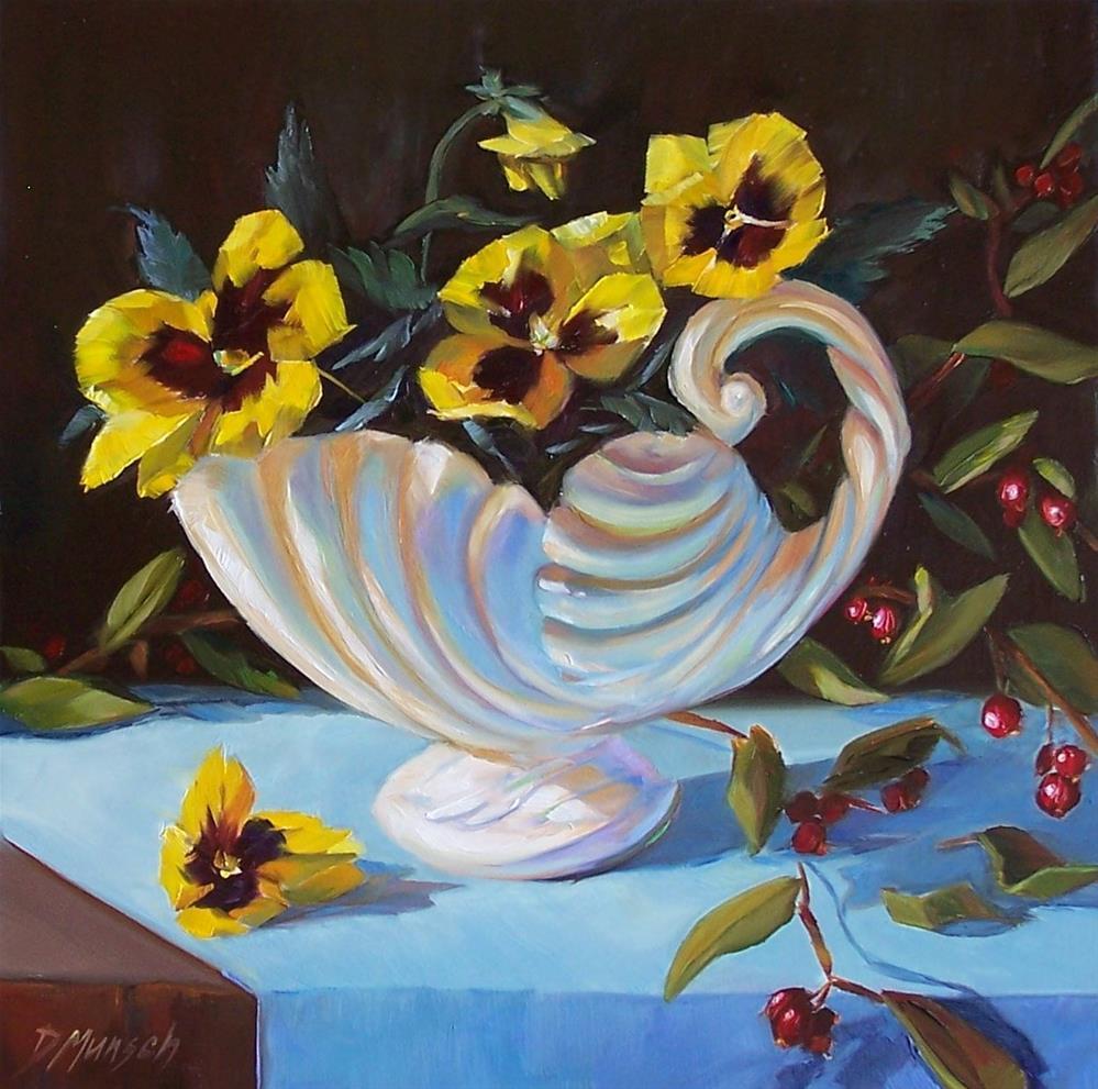 """""""Vintage Pansies"""" original fine art by Donna Munsch"""