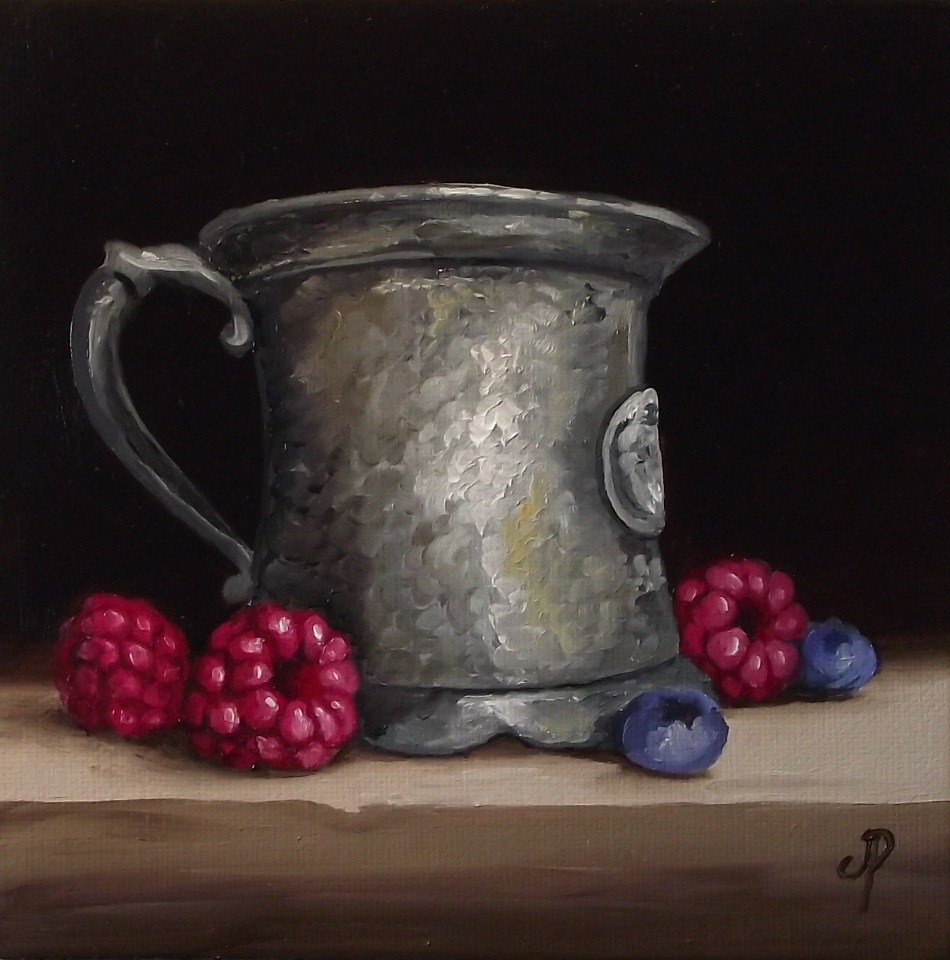 """Pewter with Raspberries"" original fine art by Jane Palmer"