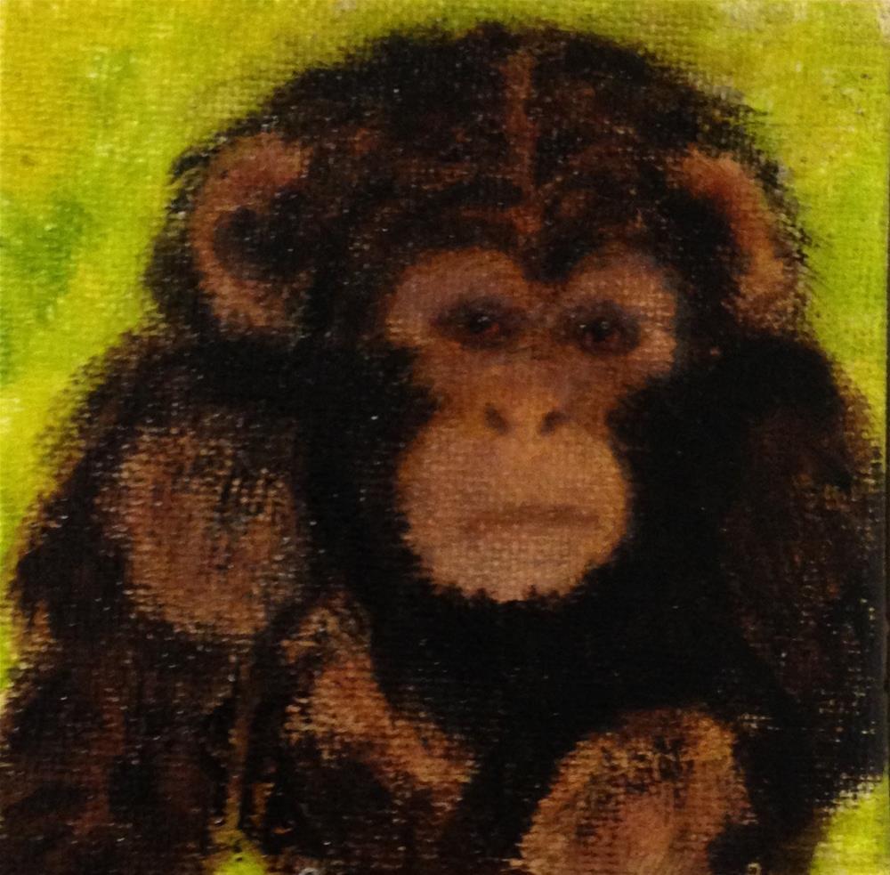 """""""Monkey See"""" original fine art by Joy McMicken"""