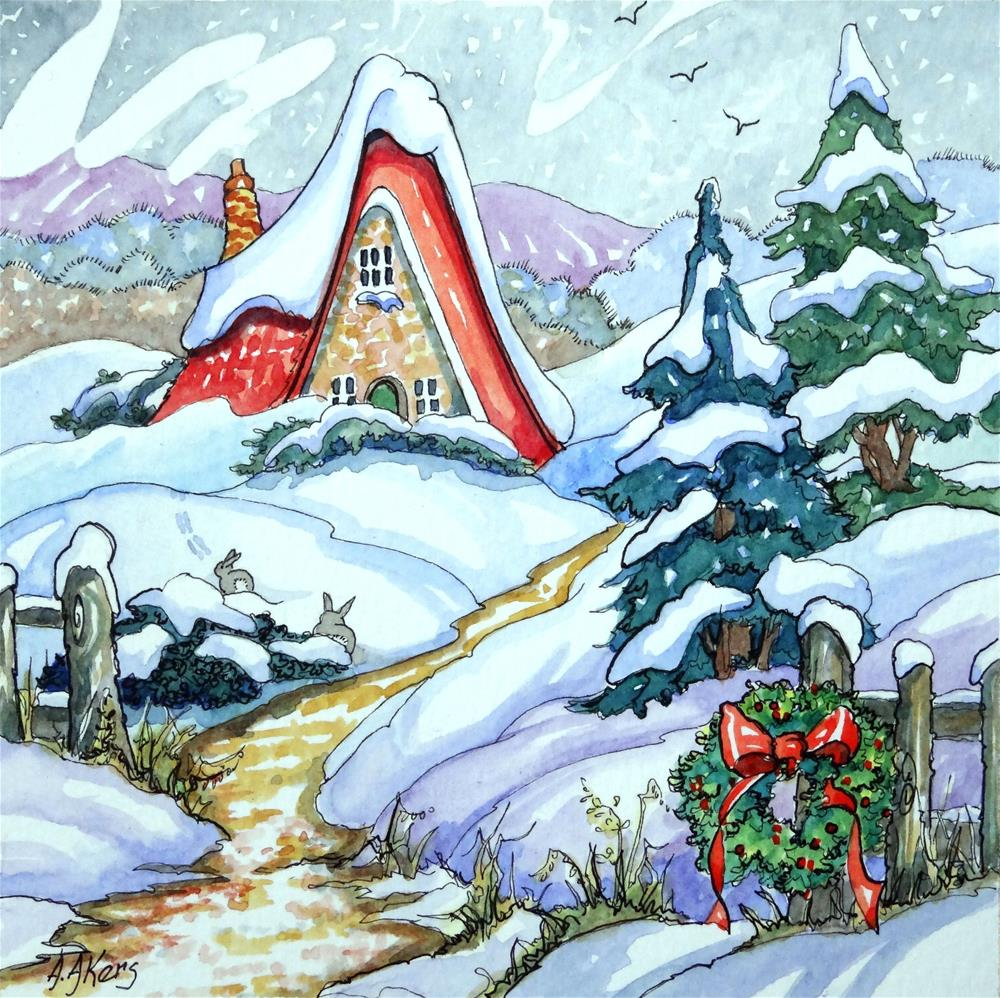 """""""Winter Haven Storybook Cottage Series"""" original fine art by Alida Akers"""