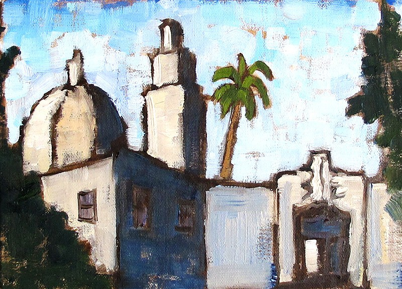 """Painting of the San Diego Museum of Man"" original fine art by Kevin Inman"