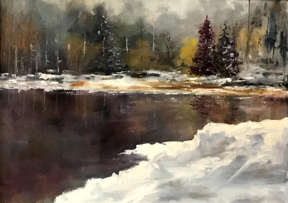 """evergreens by the river"" original fine art by Betty Argiros"