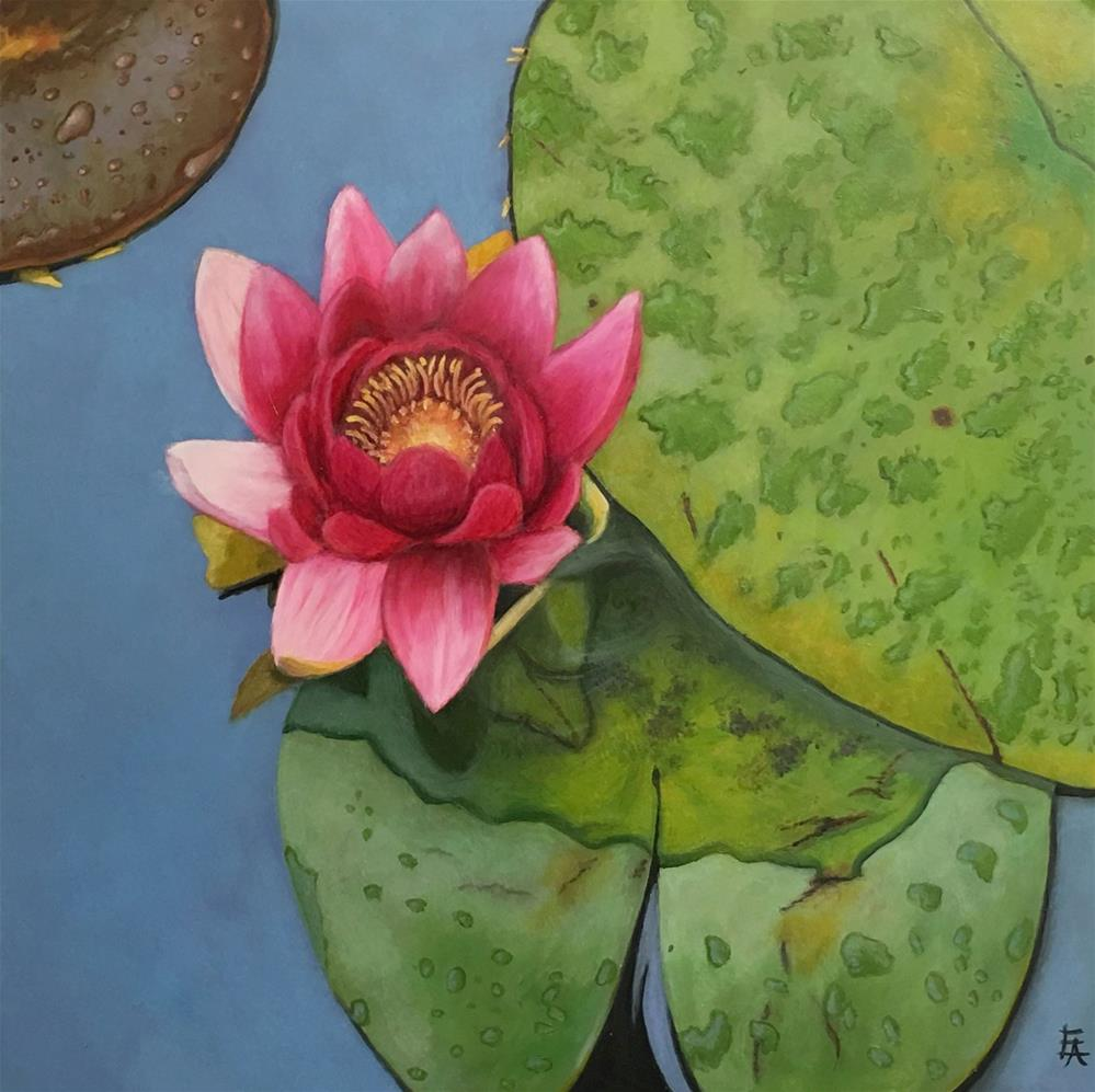"""Water Lily (framed)"" original fine art by Elizabeth Elgin"