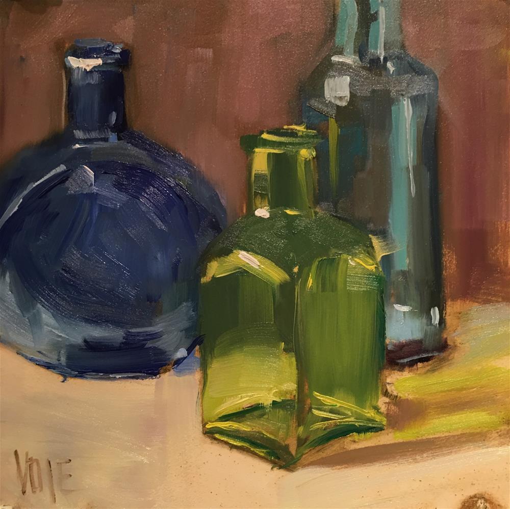"""""""#483 Tiny Bottles"""" original fine art by Patty Voje"""