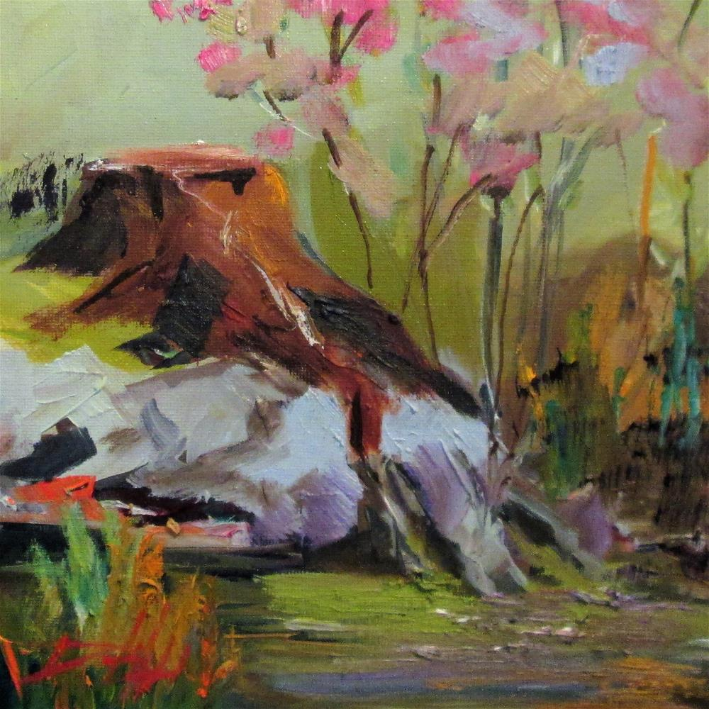 """""""Stump by the Stream"""" original fine art by Delilah Smith"""