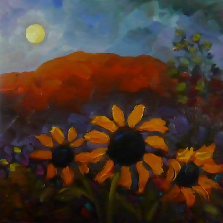 """DP1 MOONLIGHT FLOWERS"" original fine art by Dee Sanchez"