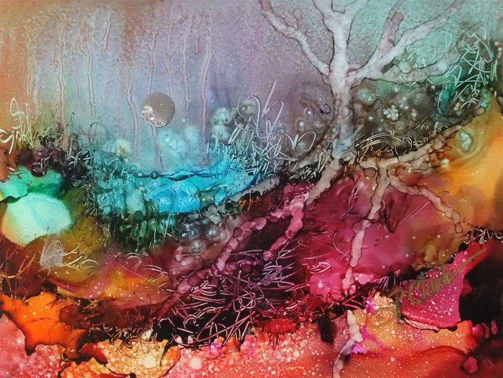 """""""Deeply Rooted_5 x 6.5 Alcohol Inks_Landscape"""" original fine art by Donna Pierce-Clark"""