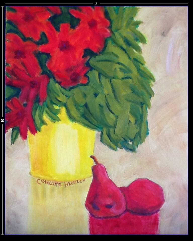 """RED PEARS"" original fine art by Charlotte Bankhead Hedrick"