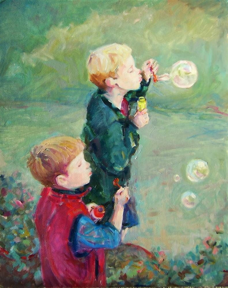 """Boys and Bubbles,portrait,oil on canvas,20x18,priceNFS"" original fine art by Joy Olney"