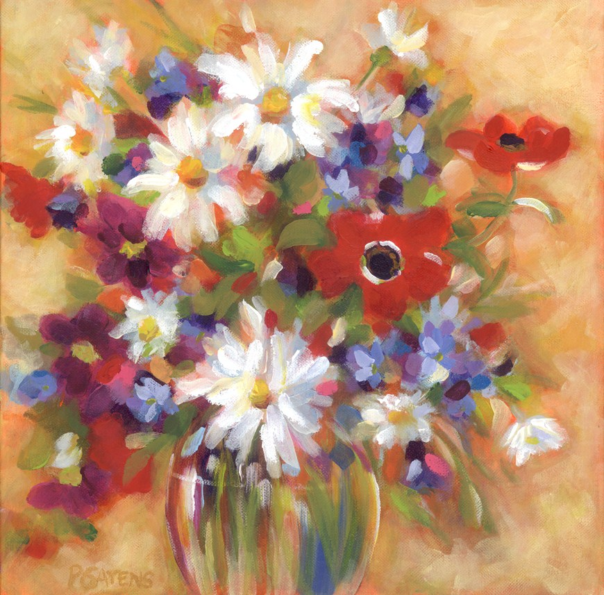 """Anemones and Daisies"" original fine art by Pamela Gatens"