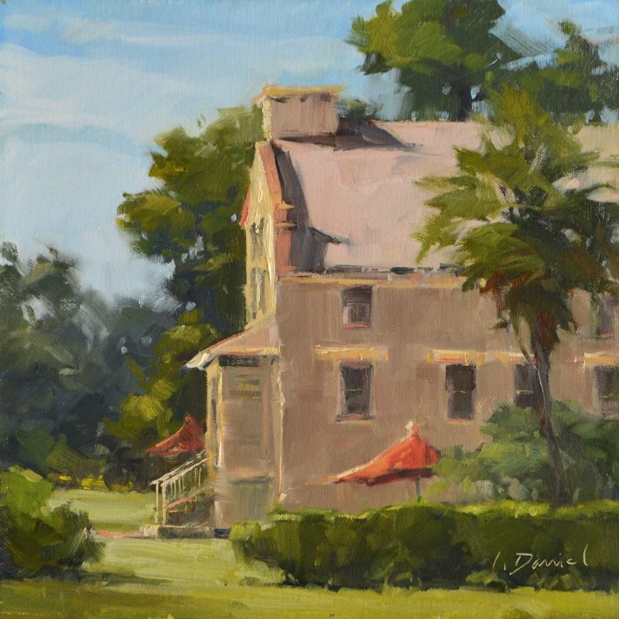 """Sunlit Terrace"" original fine art by Laurel Daniel"