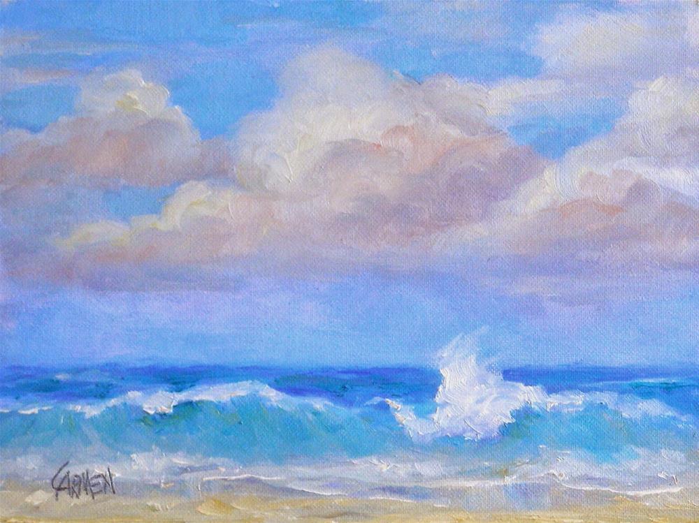 """Surf Spray, 8x6 Original Oil on Canvas"" original fine art by Carmen Beecher"