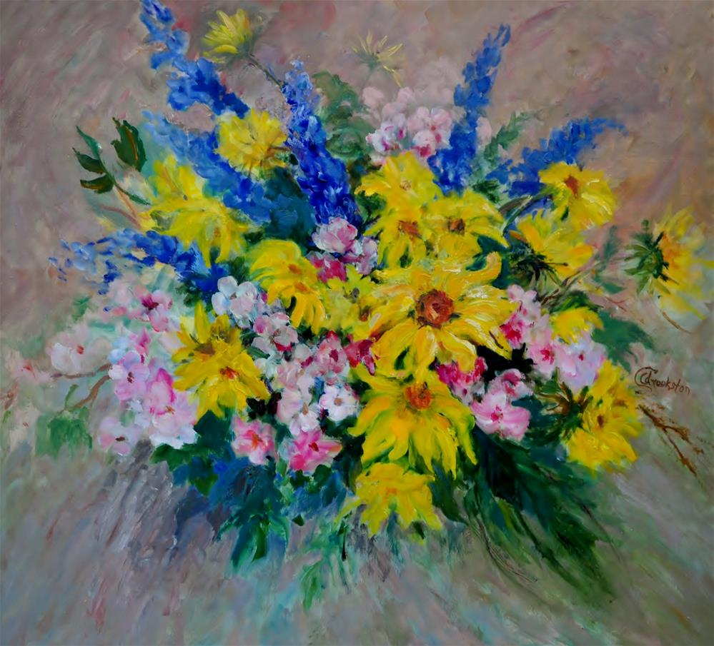 """""""Sunflowers and Apple Blossoms"""" original fine art by Catherine Crookston"""