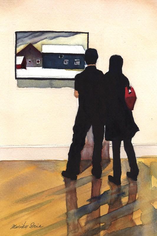 """O'Keeffe & Young Couple"" original fine art by Mariko Irie"