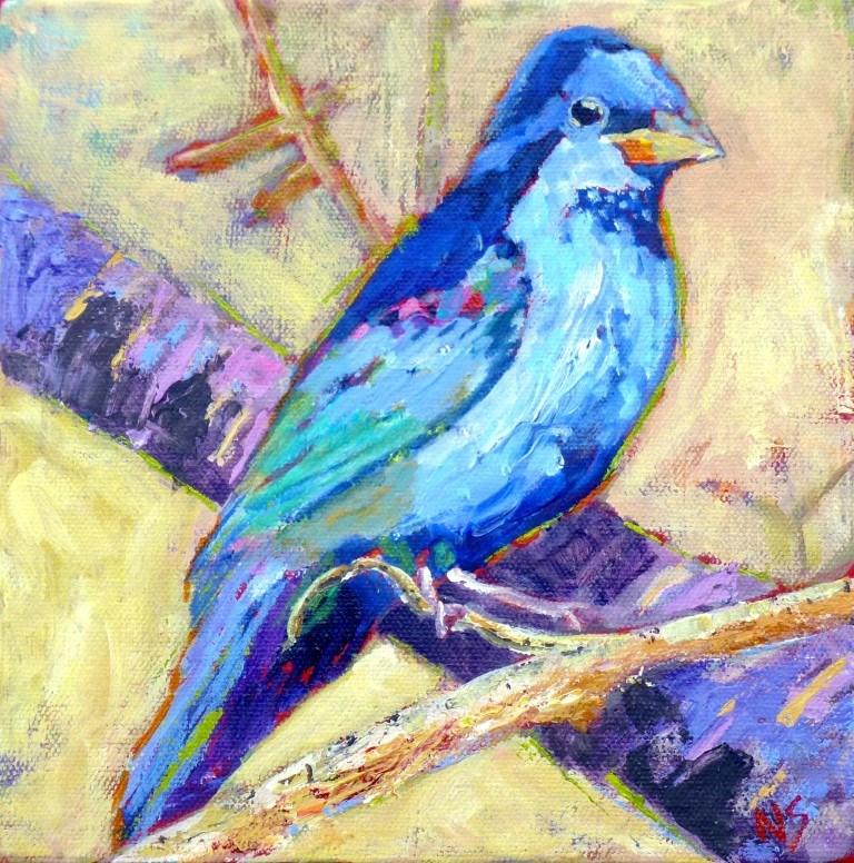 """Indigo Bunting # 2 sold"" original fine art by Nancy Standlee"