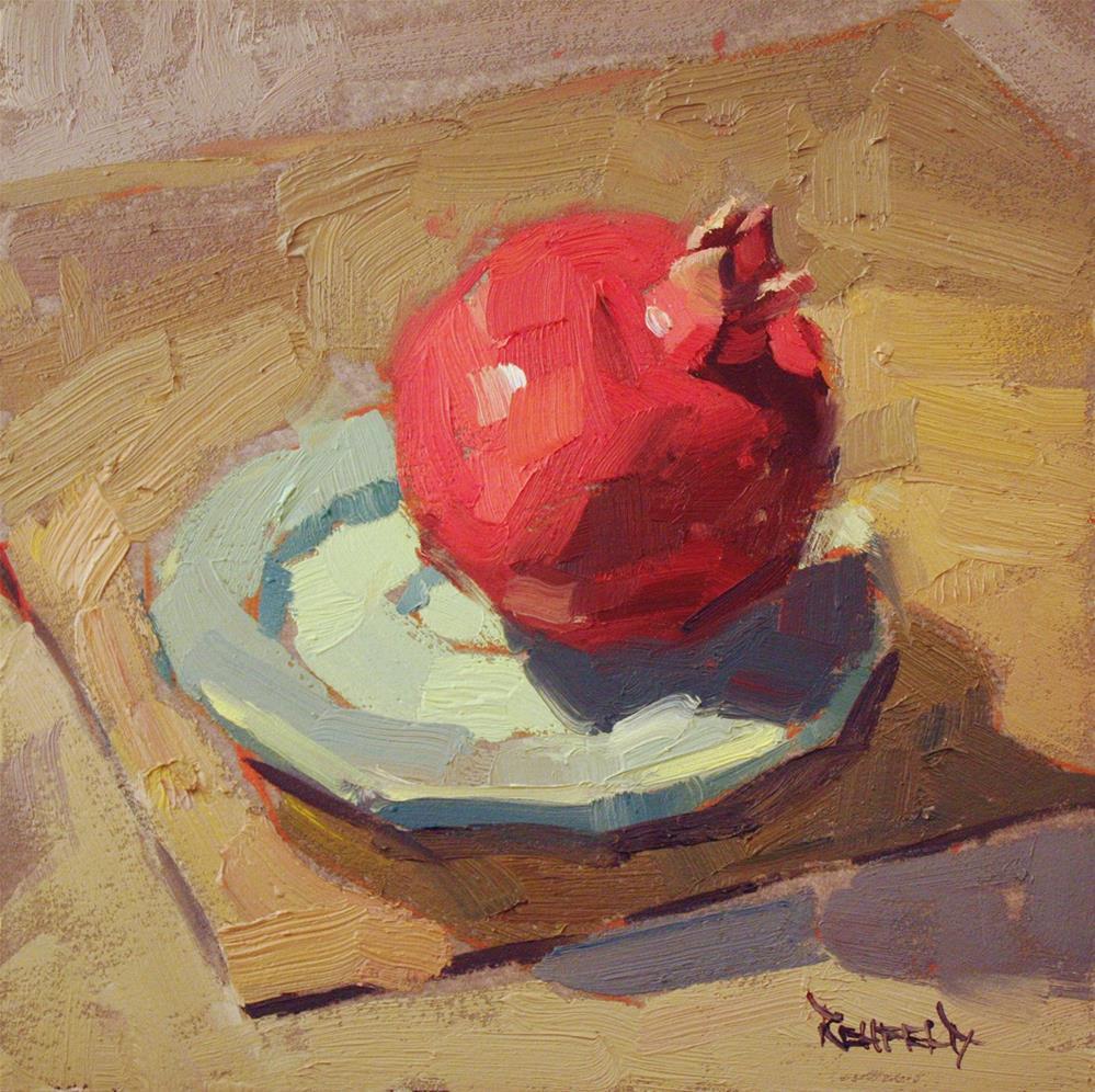 """Green Plate and Pom"" original fine art by Cathleen Rehfeld"