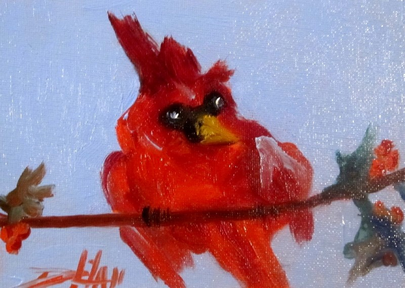 """Cardinal and Holly"" original fine art by Delilah Smith"