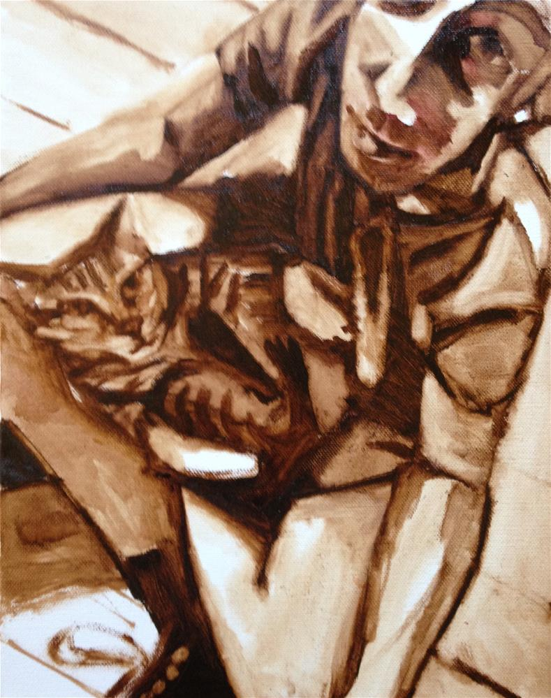 """Bruno and His Cat (round two)"" original fine art by Pamela Hoffmeister"