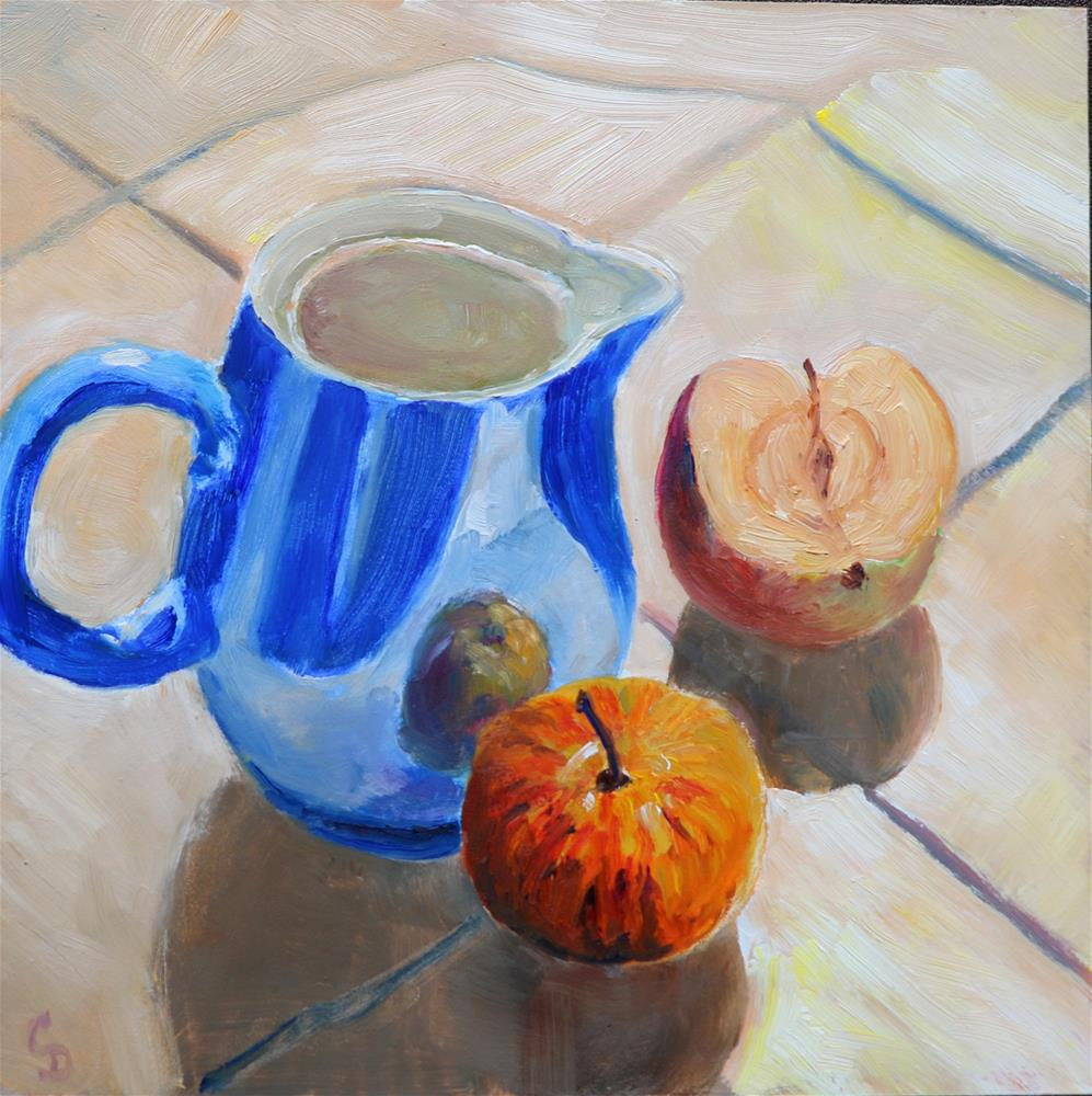 """Blue Jug and Fruit"" original fine art by Christine Derrick"