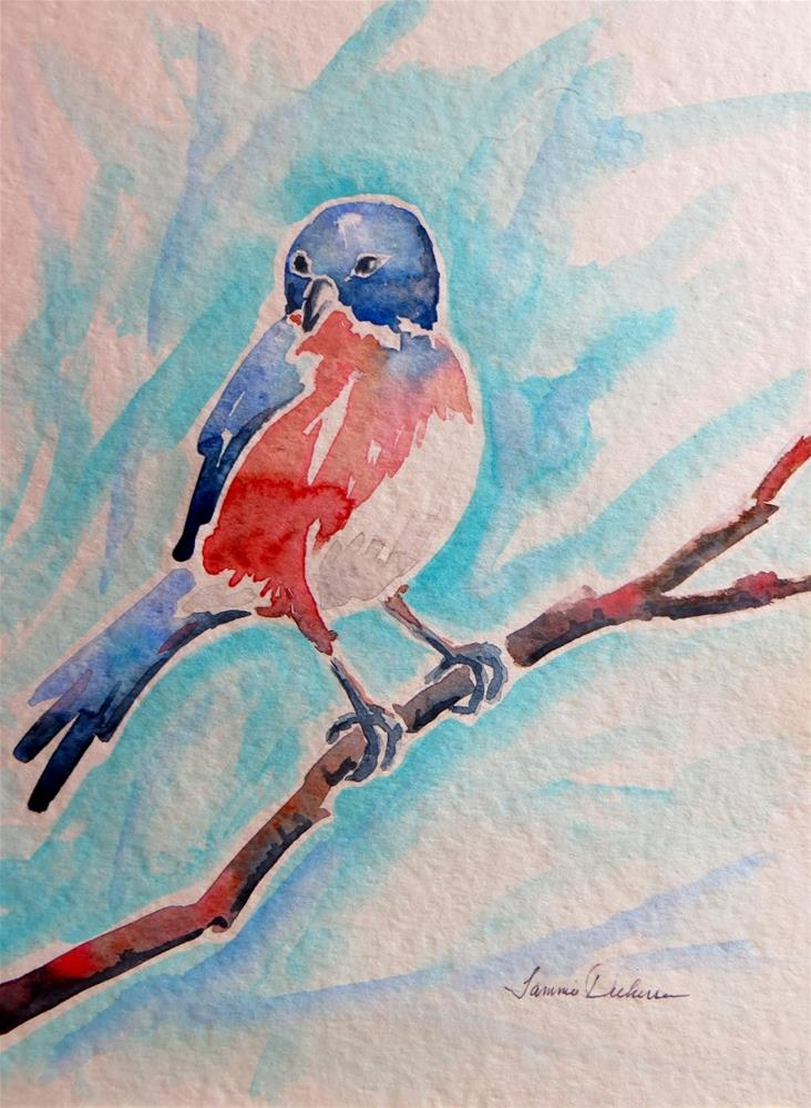 """Watercolor Bluebird"" original fine art by Tammie Dickerson"